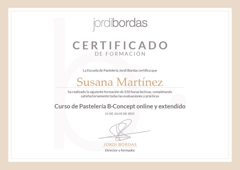 Certificado de formación expedido por la Escuela de Pastelería Jordi Bordas